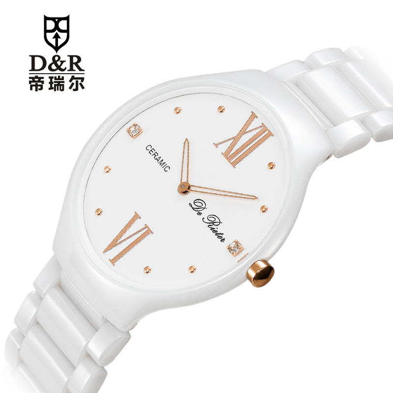 Emperor Riel counter genuine white ceramic fashion watches male quartz waterproof watch lovers(China (Mainland))