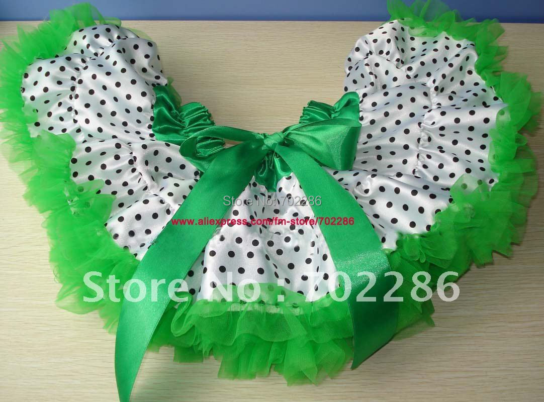 Wholesale PAGEANT DANCE PARTY PETTIS girl skirts tutus knee length skirt little girls ruffle pettiskirts WHITE DOTS GREEN(China (Mainland))
