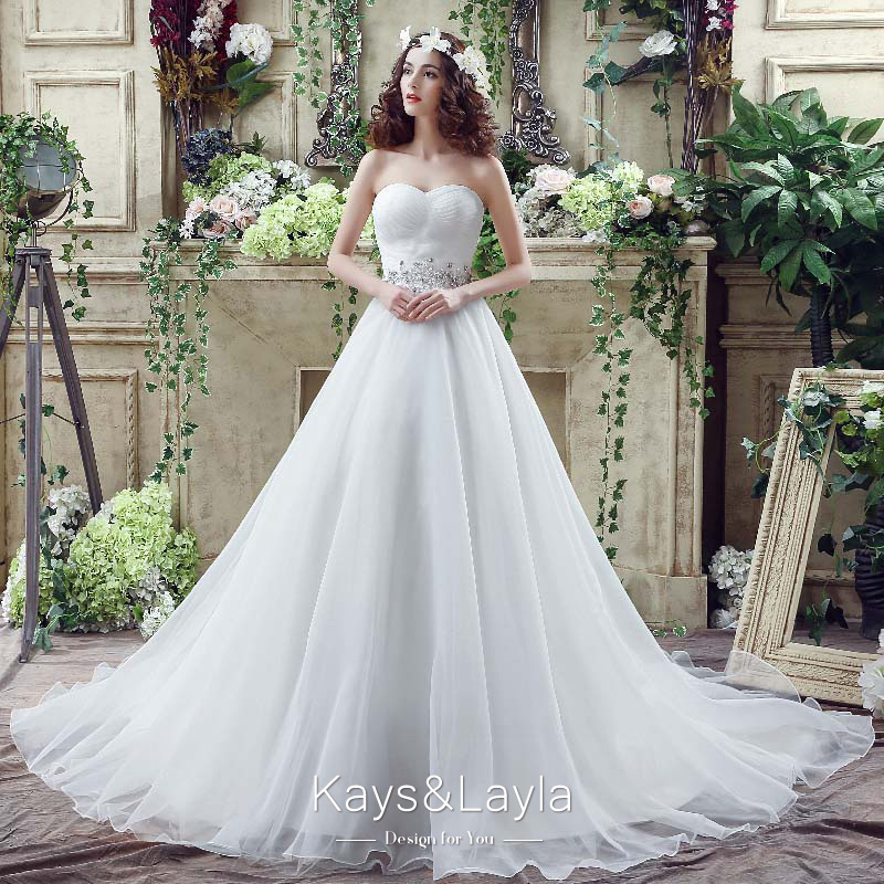 Simple Ball Gown Wedding Dresses Sweetheart Luxury Crystal Ball Gowns Ruffled Cheap Bridal Gown 2016 SQ20263(China (Mainland))