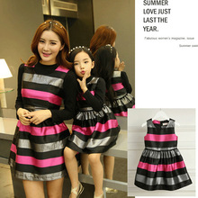 Spring Autumn Fashion Strip Mother And Daughter Dresses Women Vest Dresses Baby Girl Lovely Dresses Matching Family Clothing