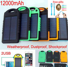 Shockproof Waterproof 12000mAh Solar Charger Battery 2 Ports Solar Panel backup power bank for Cell phone iphone 6s Samsung(China (Mainland))