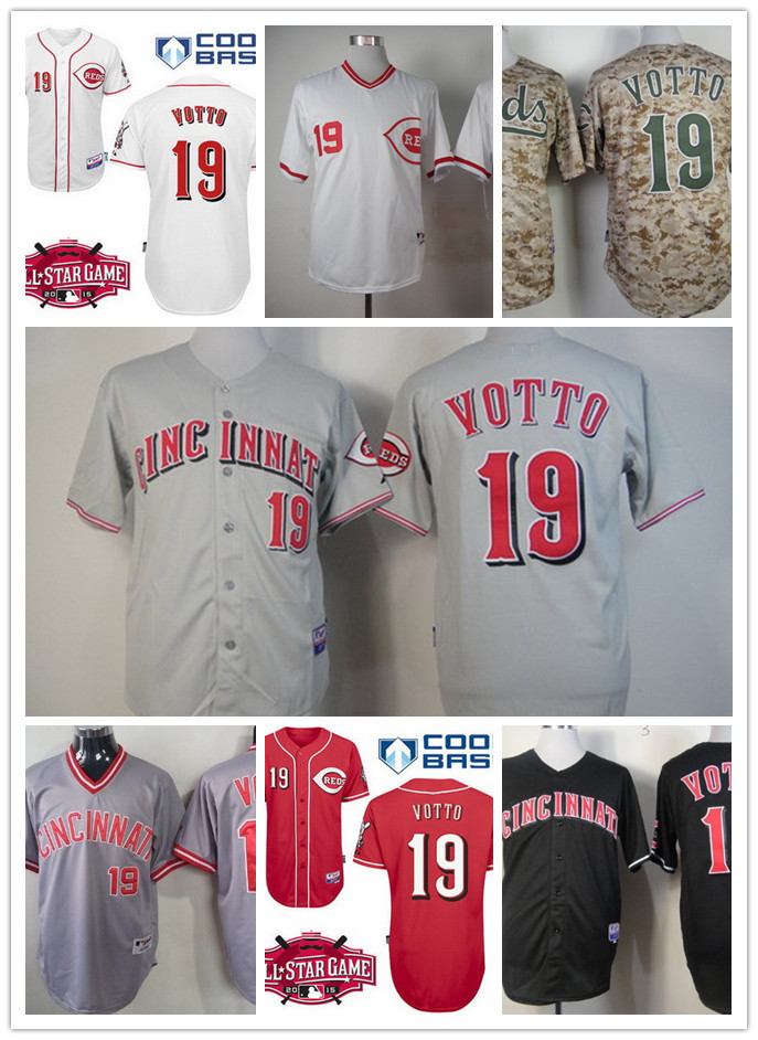 Mens White Pullover #19 Joey Votto Jersey Cheap Black Red Gray Cincinnati Reds cool base Baseball Jersey w/2015 All-Star Patch<br><br>Aliexpress