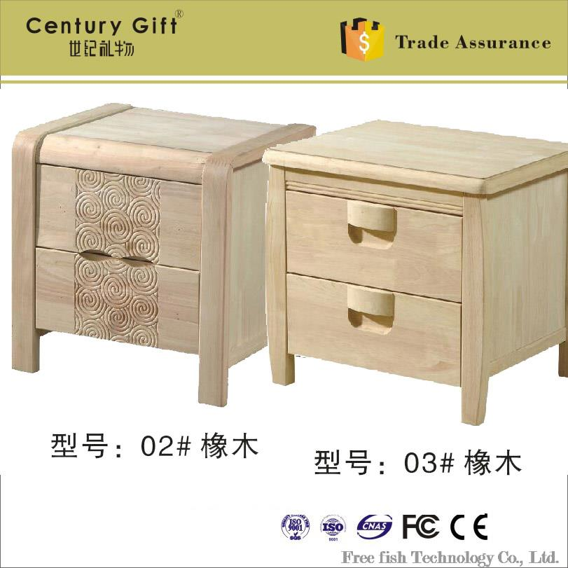 White embryo oak wood bedside cabinet bedside cabinet Baipi not paint the white stubble bedside(China (Mainland))