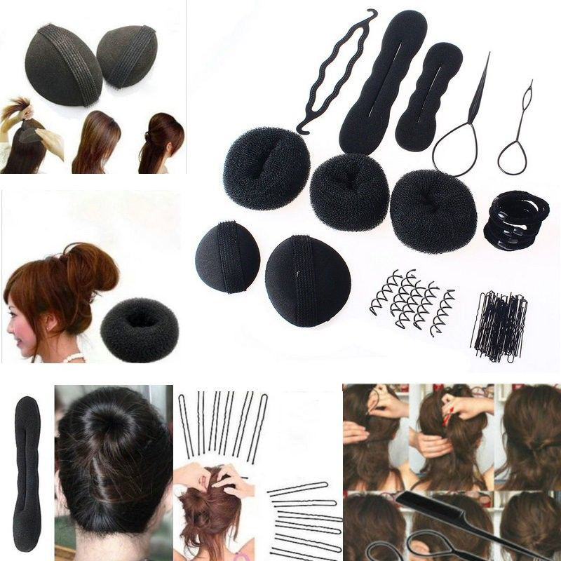 1Set Sponge Disk Hair Pull Hair Pin Head To Weave Hairstyles Tools Hairdresser'S Styling Braid Diy Rubber Band Hair Clips(China (Mainland))
