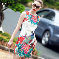2015 Fashion High Quality Summer Style  Fashion  Women's Water Peacock peony slim print Summer Dress Party Dresses O-Neck Women