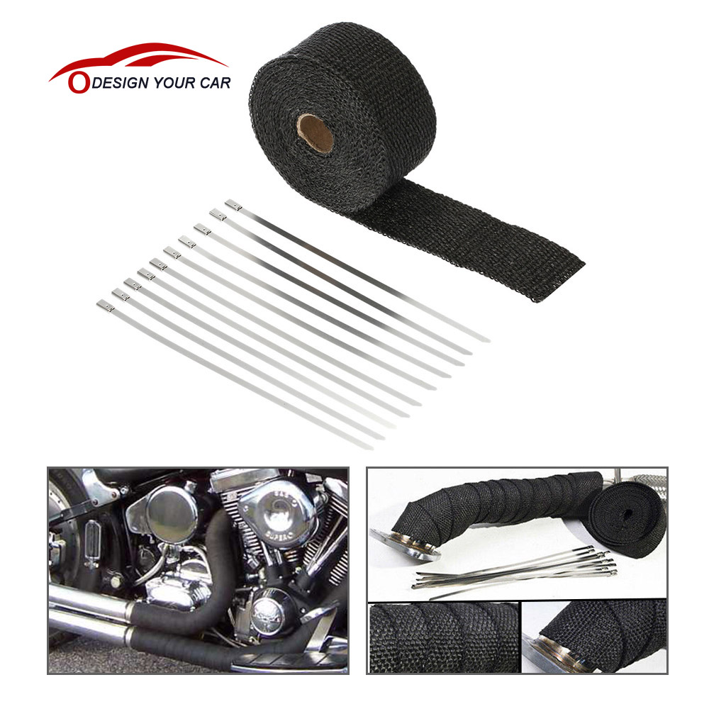 KKMOON Fiberglass Insulation Clothes SI-A0158 5m*5cm*1.5mm Exhaust Heat Wrap Turbo Pipe Heat Insulated Wrap for Motorcycle Car(China (Mainland))