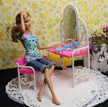 Kid's play house toys Doll Accessories Handmade Doll's Plastic dresser&chair set For Barbie Dolls(China (Mainland))