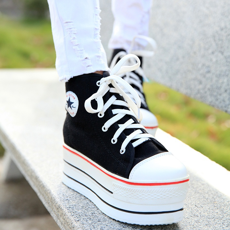 2015 Fashion Womens High Heeled Sneakers Canvas Elevators White Black High Top Wedges shoes Casual platform women sneakers(China (Mainland))