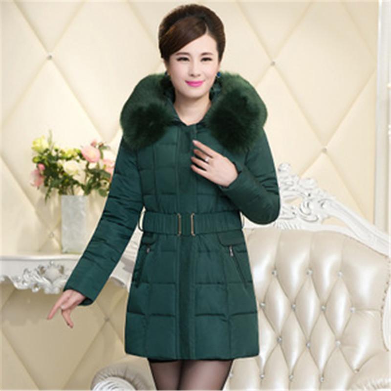 Winter Jacket Women Outwear 2015 Female Plus Size Fur Collar Long Cotton Wadded Coat Hooded Thick Parka LJ3369