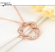 Valentines Gift Alloy Metal Heart Pendant Necklace Pave Austrian Crystals Fashion Jewelry Mix Colors Options NL0006
