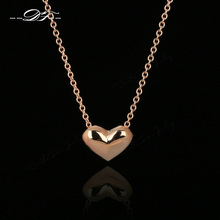 Simple Elegant Love Heart Cute Chains Necklaces & Pendants 18K Rose Gold Plated Fashion Brand Vintage Jewelry For Women DFN090