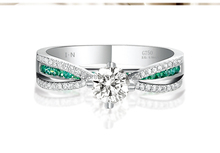 Fine Wedding Jewelry For Women 9K Pure White Gold Engagement Ring Center 0 5ct Simulated Diamond