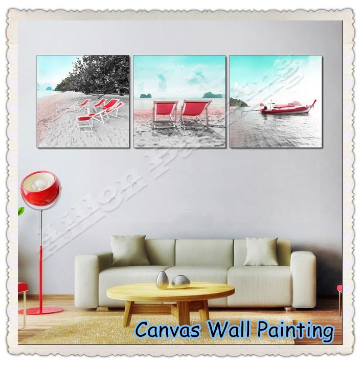 3Panels Seaview Beach Stool Home Decorative Canvas Painting Wall Painting Oil Picture On Canvas Prints Modern Decor Room Art