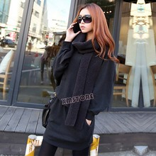 Hot Selling ! New Fashion Womens Korea Loose Long Sleeve Pullover Dress Tops Coat Dark Gray 19455(China (Mainland))