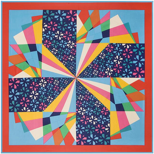 100 см * 100 см новое поступление 100% саржевые шелк красочные геометрические мельница женщины заклинание цвет 100% твилли шелковые шарфы B133