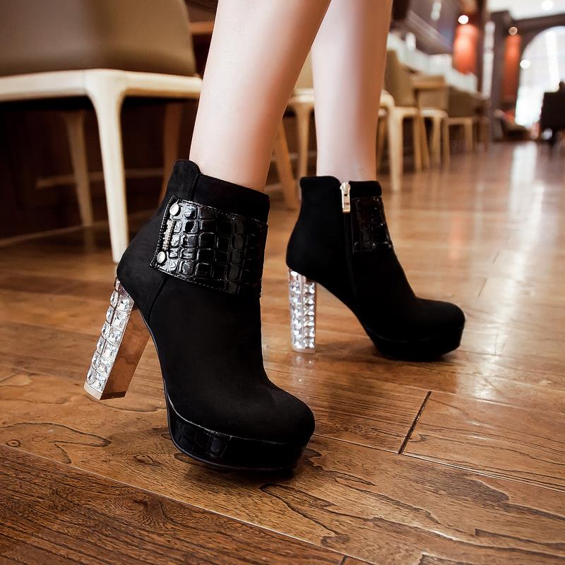 Chunky heels round toe platform ankle boots Velcro woman fashion 2015 new hot models shoes