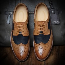 Noble Fashion Quality Leather Carved Brogues Dress Oxfords Mens Wedding Party Shoes Flats Mixed Color British Style Hand Made(China (Mainland))