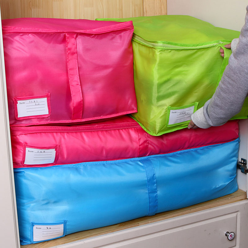 Free Shipping Blue/Red Home Storage Bag Clothes Quilt Bedding Duvet Zipped Handles Laundry Polyester Pillows Storage Bag Box(China (Mainland))