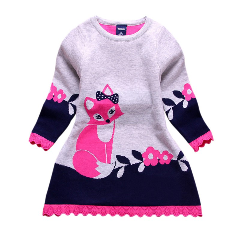 Autumn Spring Double-layer Long-sleeve Kids Fox Clothing Thick Girl Fox Sweater Dress Children 4-8 Y