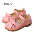 Hilabork 2017 spring children s shoes non slip soft dough fashion leather shoes HOOk LOOP bow