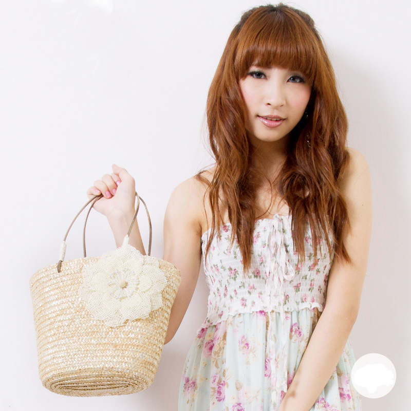 Candy color floret machine for straw bags with small hand bag belt straw woven twist beach bag(China (Mainland))