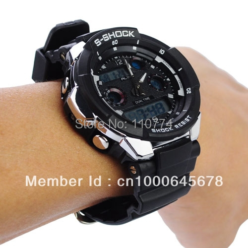 Quality 50M Waterproof Sport 56925  Watch with Dual Movement/Stopwatch/CHM/Alarm/SPL/EL Backlight multi fuction 4 COLORS watches