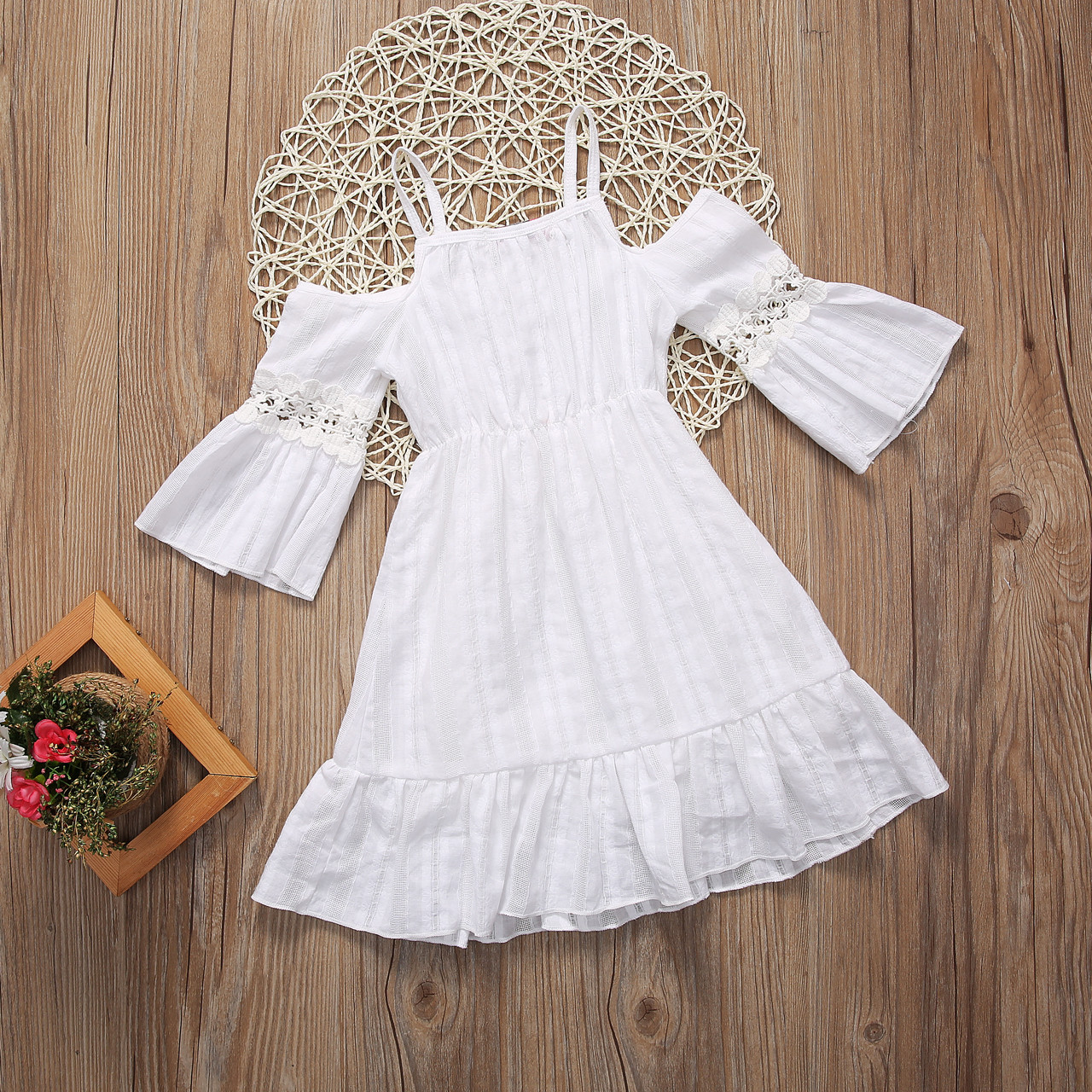 Flower Girls Princess Dress Kids Baby Party Pageant Long Sleeve Dresses Clothes