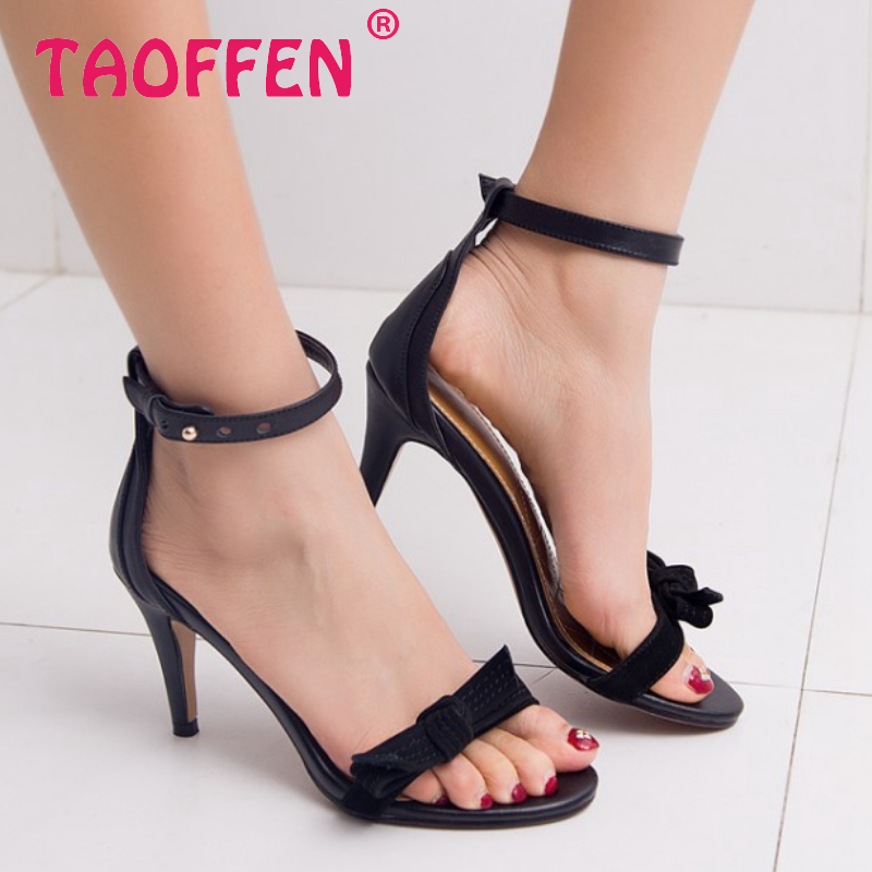 women stiletto real genuine leather bowtie buckle thin high heel sandals sexy fashion brand heeled ladies shoes size 34-39 R6844<br><br>Aliexpress