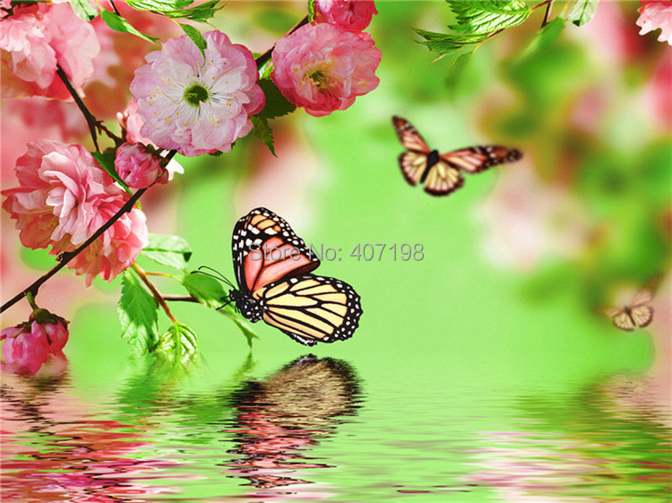 Fantasy Diy diamond painting square drill rhinestone pasted painting cross stitch decorative painting crafts water butterfly(China (Mainland))