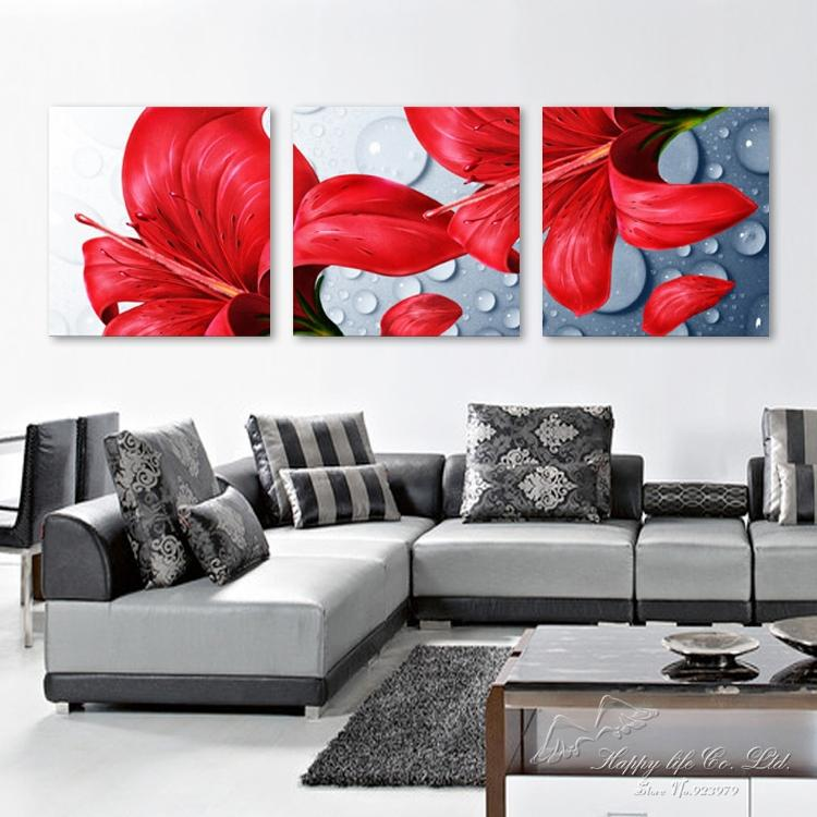 3 panel modern art Modern oil Painting Home Decorative wall Art Paint Canvas Print Lily water - If you come here store