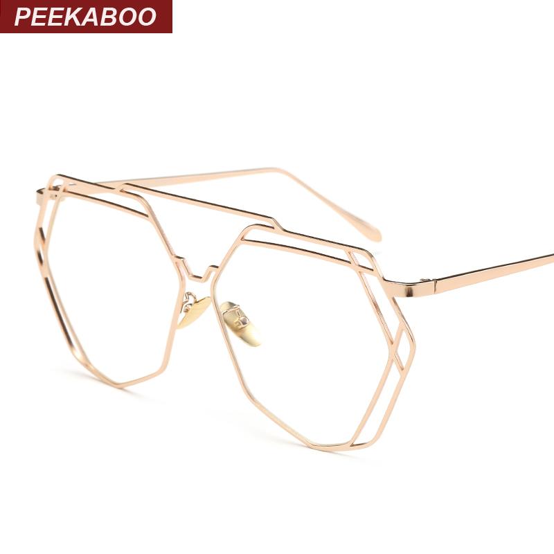 peekaboo high quality vintage flat top polygon glasses clear lens men women fashion gold metal frame