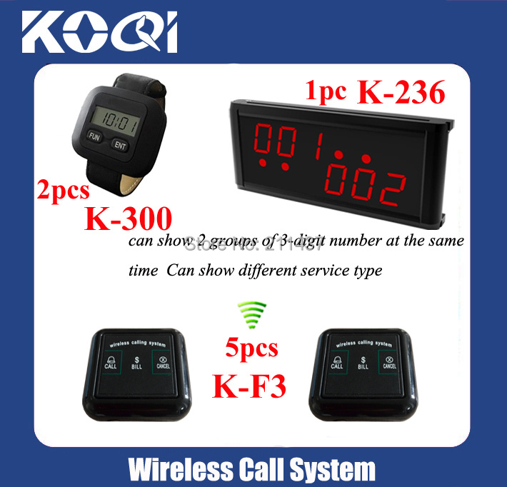 Guest Paging system K-236 display +2pcs K-300+5pcs K-F3 buttons 433.92MHZ DHL free shipping(China (Mainland))