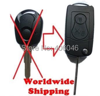 5 PCS/LOT NEW CAR KEYS FOB FLIP BLADE KEY BLANK SHELL FOLDING CASE FOR SSANGYONG ACTYON SUV KYRON REXTON REMOTE TRANSMITTER(China (Mainland))
