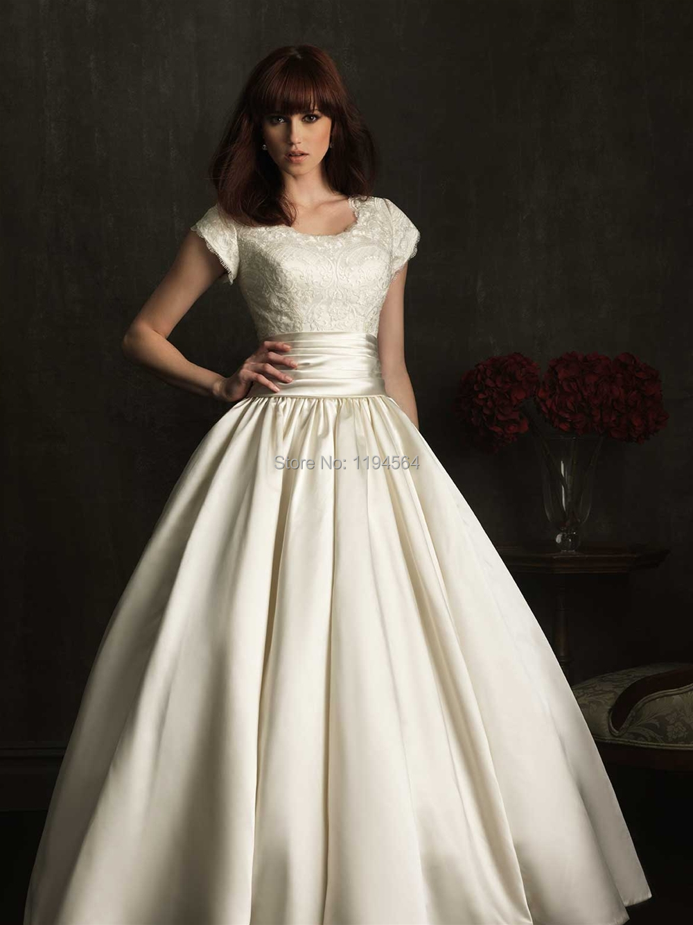 Modest high back wedding dresses 2015 bridal ball gowns for Modest a line wedding dresses