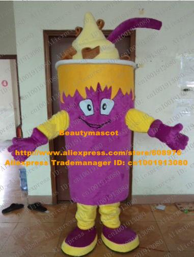 Vivid Purple Ice Cream Mascot Costume Mascotte Gelato Icecream Butter With Big Purple Sucker Smiling Face No.4448 Free Shipping(China (Mainland))