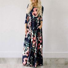 2019 קיץ ארוך שמלה פרחוני הדפסת Boho חוף שמלת טוניקת מקסי שמלת נשים ערב המפלגה שמלה קיצית Vestidos דה festa XXXL(China)