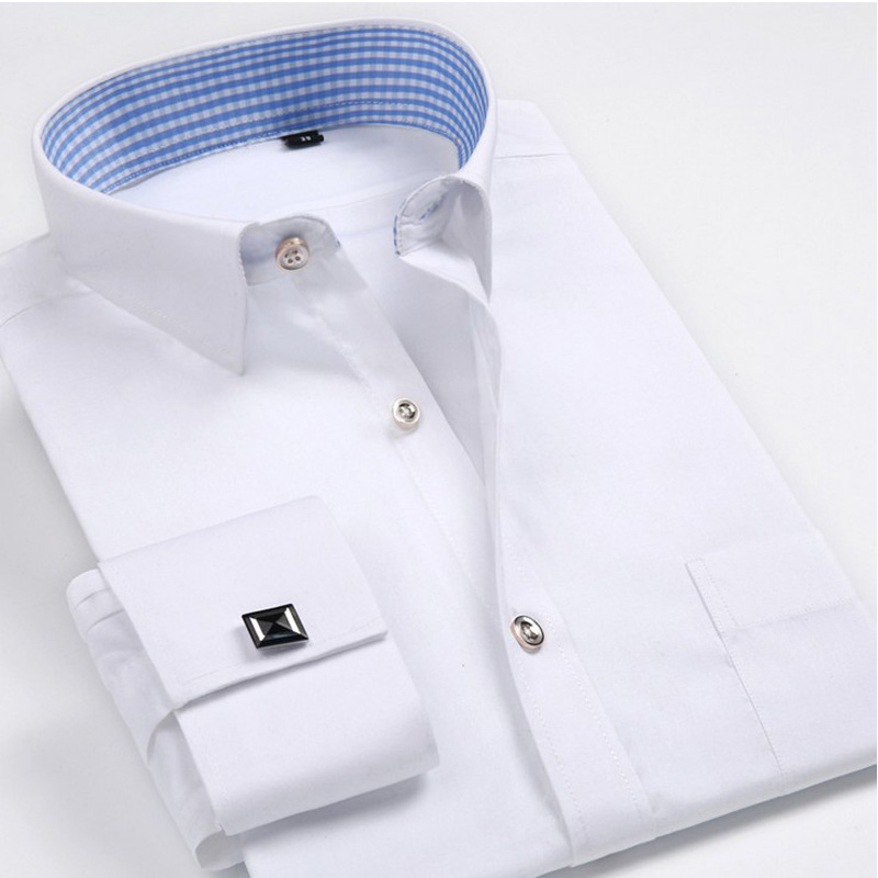 Luxury french cuff button mens dress shirt 2016 new for French cuff shirts cheap
