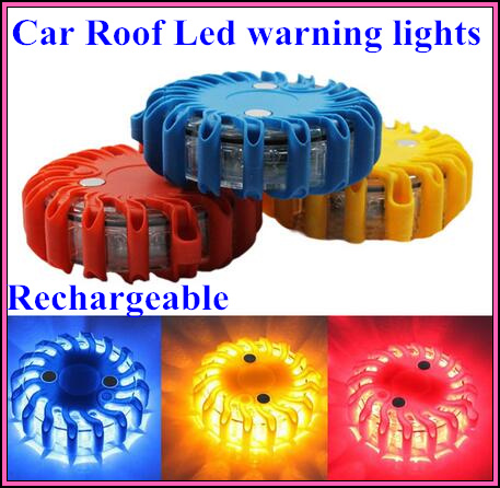 Rechargeable car Road safety led warning lights,emergency light,car roof round beacon,install by magnetic,9 flash,waterproof(China (Mainland))