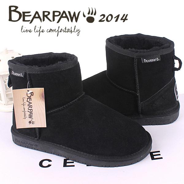 2014 women-shoe bearpaw snow boots female short boots winter fur leather boots women cotton-padded shoes boots black shoes