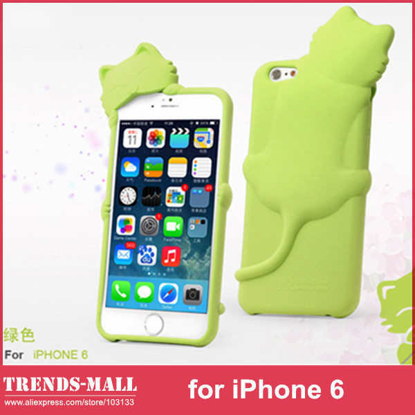 Lovely Kiki Cat Silicone Soft Silicon Gel Case Cover Apple iPhone 6 + Earphone Anti Dust Retail Package- - Trends-Mall store