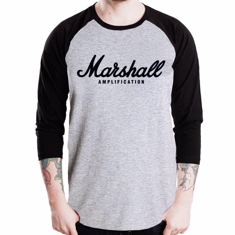 Marshall Amplification Logo Guitar Amp T Shirt Rock Band Music Baseball Jersey t-shirt 3/4 Sleeve Men's Raglan Tee(China (Mainland))