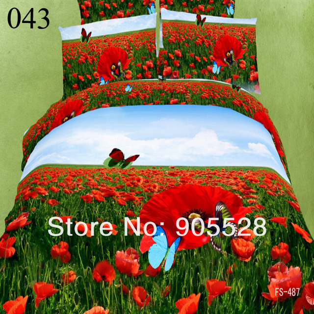2013 100% quality New listing Pink Begonia flowers 3d bedding set queen size floral pattern comforter duvet cover bed sheet set