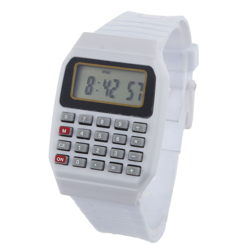 Novel design Unsex Silicone Multi-Purpose Date Time Electronic Wrist Calculator Watch White bb(China (Mainland))