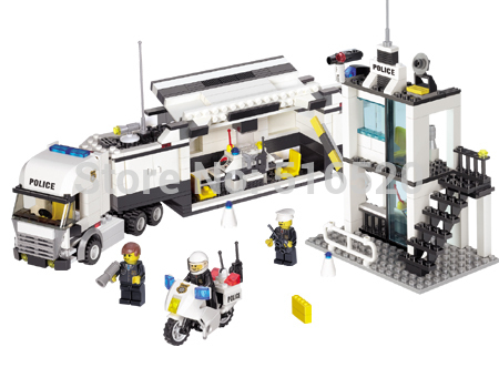 Police Station Truck Building Blocks Sets Bricks Lego Compatible Learning & Education Toys For Children brinquedos educativos(China (Mainland))