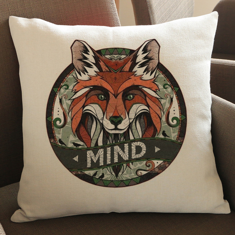 2016 45X45cm Vintage Cushion Cover Pillow Case Cover Black Animals Wolf Cat Tiger Throw Linen Decor