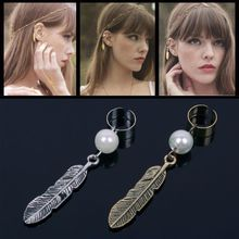 Gothic Punk Leaf Feather Pearl Earrings Clip on Non Pierced Leaf Ear Cuffs #57908(China (Mainland))
