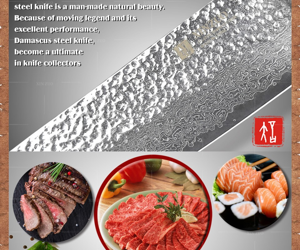 "Buy NEW  7"" santoku knife 73 layers Japanese Damascus steel kitchen knife senior vegetable knife Color wood handle free shipping cheap"