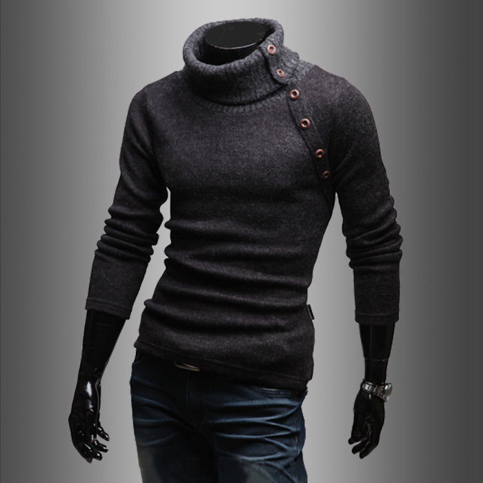 2016 Men casual male slim pullover turtleneck sweater solid color spring men's clothing black wool sweater men tops fashion men(China (Mainland))
