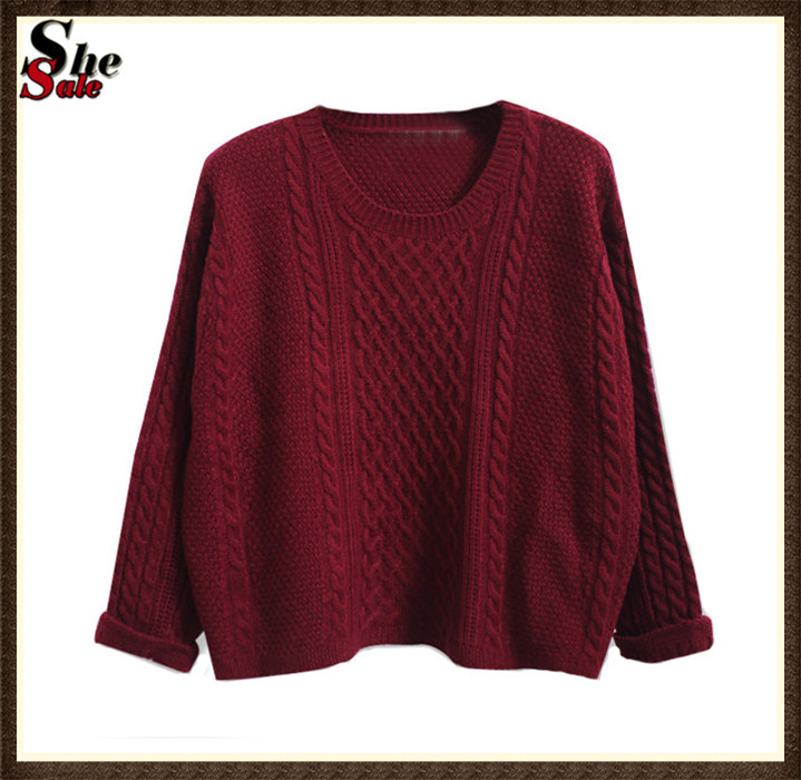 Women Batwing Long Sleeve Cable Knitting Cotton Jumpers Ladies Fashion Spring Casual Wine Red Loose Pullovers Sweater(China (Mainland))