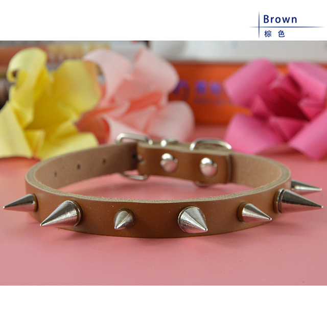 Free Shipping PU Leather Adjustable Pet Product Rivet Spiked Studded Pet Dog Collar Dog Chain